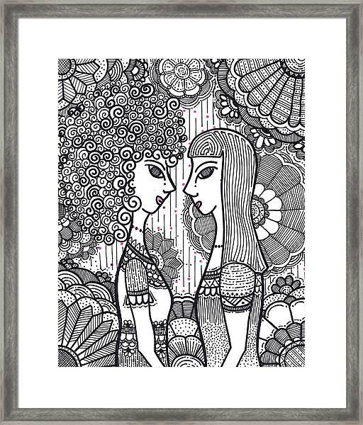 Sisters - Ink Framed Print