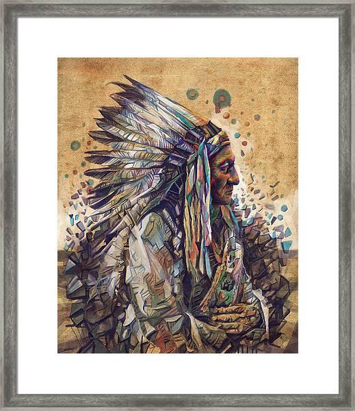 Sitting Bull Decorative Portrait 2 Framed Print