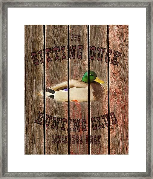 Sitting Duck Hunting Club Framed Print