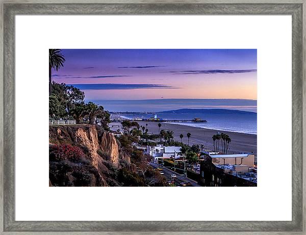 Sitting On The Fence - Santa Monica Pier Framed Print