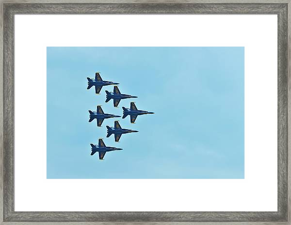 Six Blue Angels In The Clear Blue Sky Framed Print