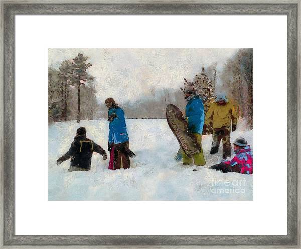 Six Sledders In The Snow Framed Print