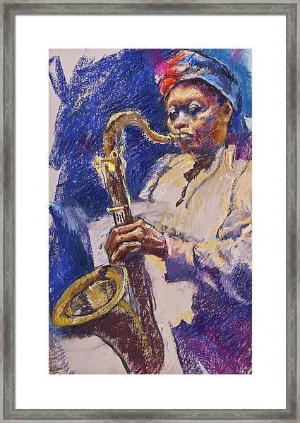 Sizzlin' Sax Framed Print