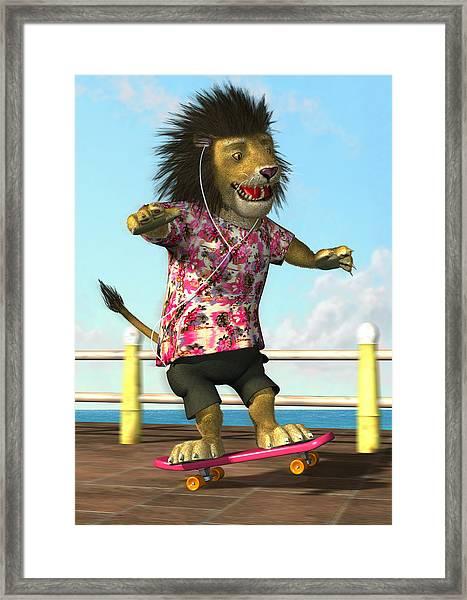 skateboarding Lion Framed Print