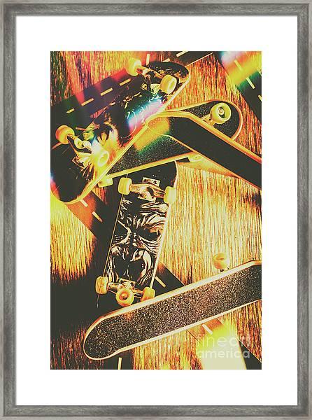Skateboarding Tricks And Flips Framed Print
