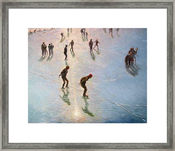 Skating In The Sunset  Framed Print