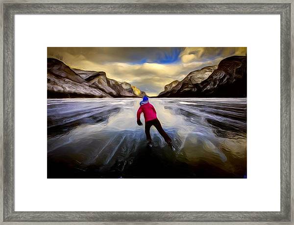 Skating Through The Mountains Framed Print