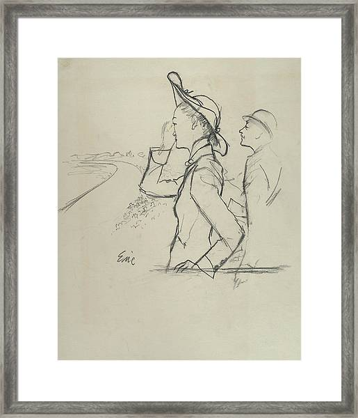 Sketch Of A Woman And Man Wearing Hats Framed Print by Carl Oscar August Erickson