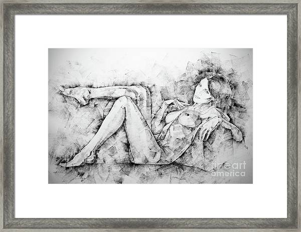 Sketchbook Page 46 Drawing Woman Classical Sitting Pose Framed Print