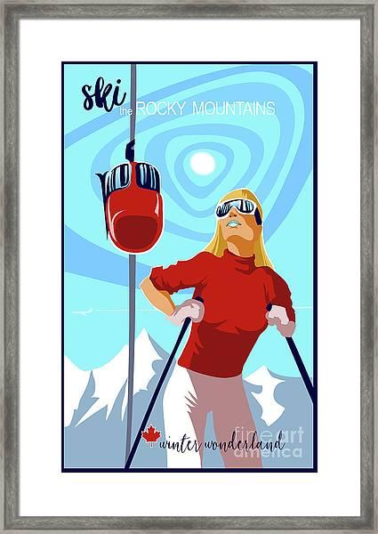 Ski Bunny Retro Ski Poster Framed Print