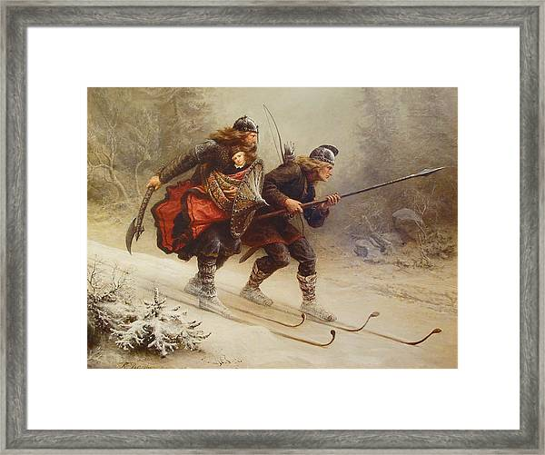 Framed Print featuring the painting Skiing Birchlegs Crossing The Mountain With The Royal Child by Knud Bergslien