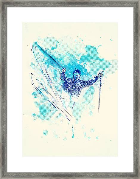 Skiing Down The Hill Framed Print