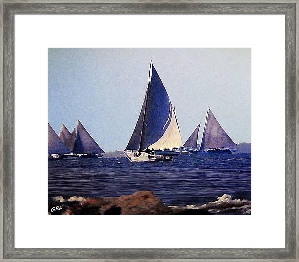 Framed Print featuring the painting Skipjacks Racing IIi Chesapeake Bay Maryland Contemporary Digital Art Work by G Linsenmayer