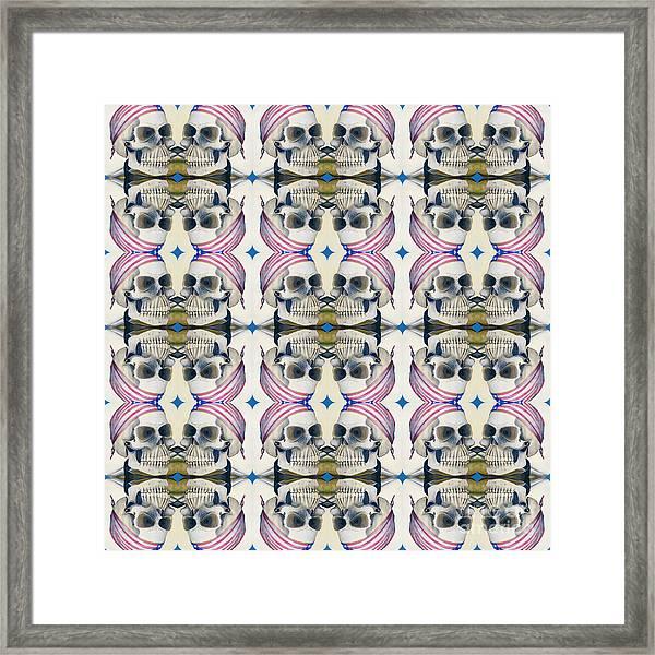 Skull Mirror Pattern Large Framed Print