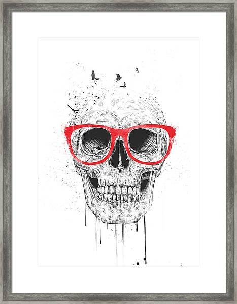 Skull With Red Glasses Framed Print