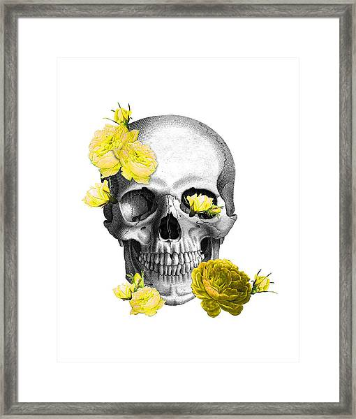 Skull Yellow Roses Framed Print