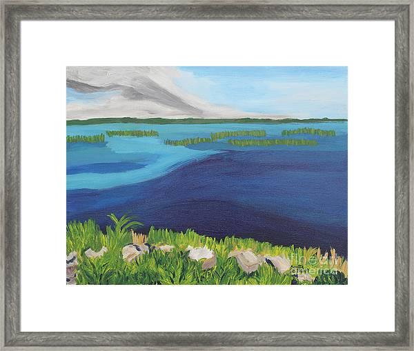 Serene Blue Lake Framed Print