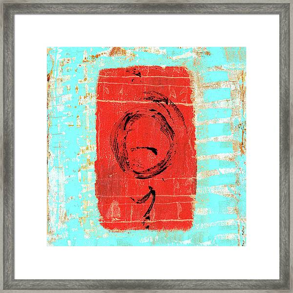 Sky Blue And Muted Red Abstract Framed Print