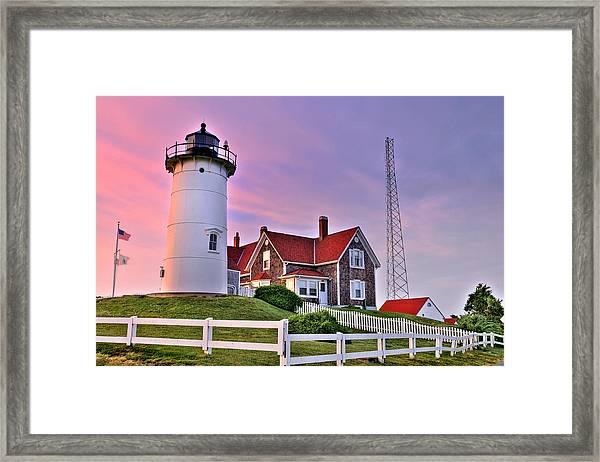 Sky Of Passion - Nobska Lighthouse Framed Print