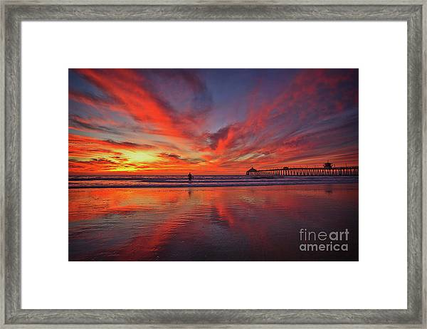Sky On Fire At The Imperial Beach Pier Framed Print