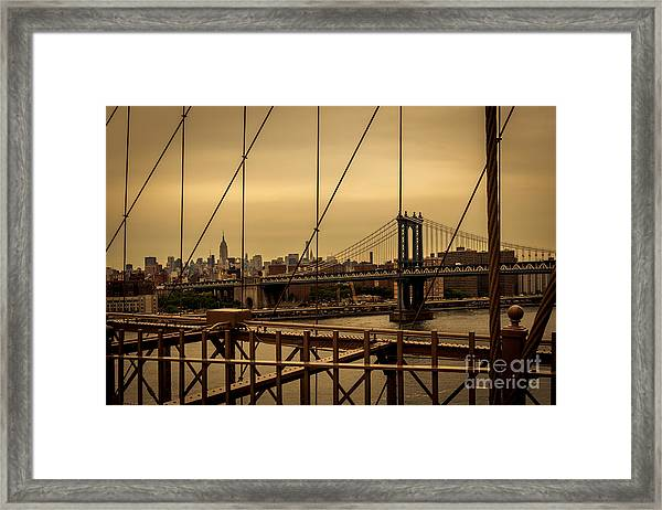 Skyline Ny From Brooklyn Bridge Framed Print