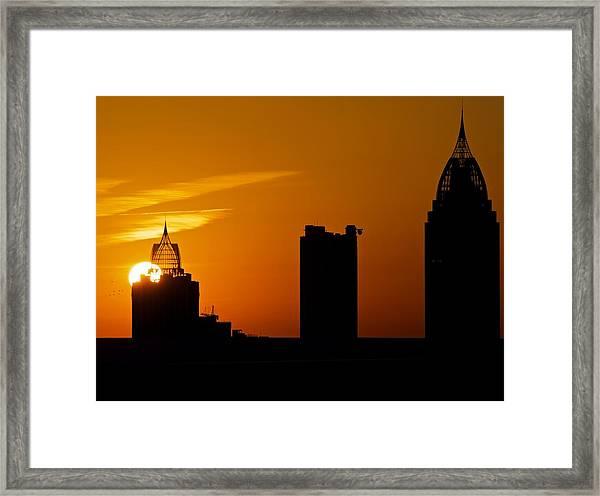 Skyscraper Sunset Framed Print