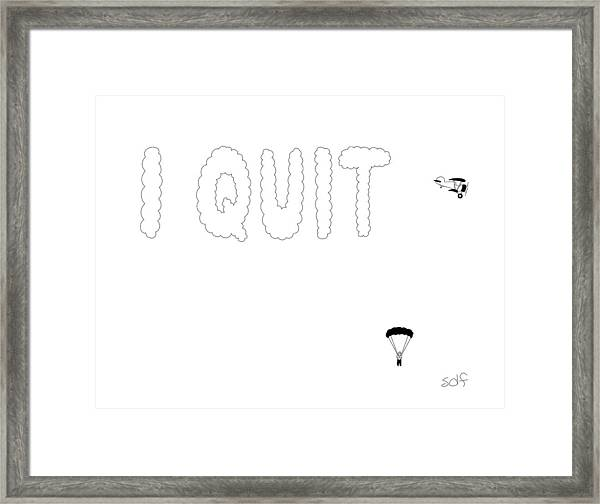 Skywriter Parachutes Out Of Plane Framed Print