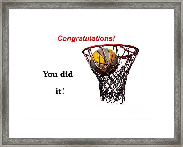 Slam Dunk Congratulations Greeting Card Framed Print
