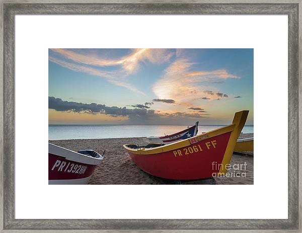 Sleeping Boats On The Beach Framed Print