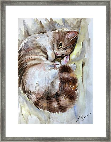 Framed Print featuring the painting Sleepy Cat 2 by Katerina Kovatcheva