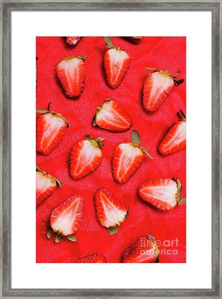 Sliced Red Strawberry Background Framed Print