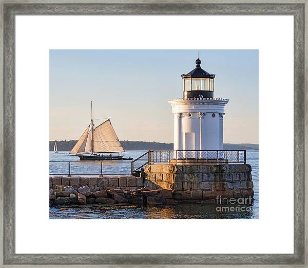 Sloop And Lighthouse, South Portland, Maine  -56170 Framed Print