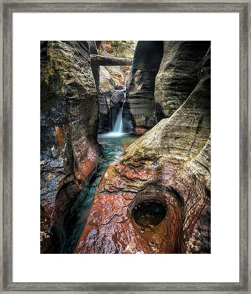 Slot Canyon Waterfall At Zion National Park Framed Print