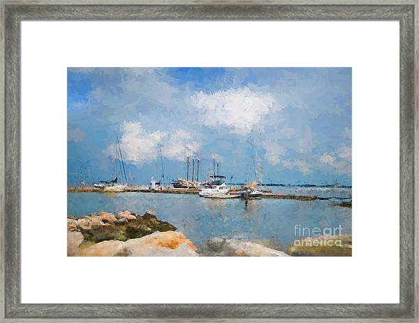 Small Dock With Boats Framed Print
