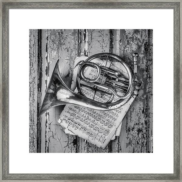 Small French Horn Black And White Framed Print
