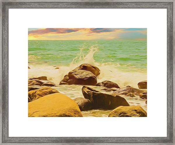 Small Ocean Waves,large Rocks. Framed Print