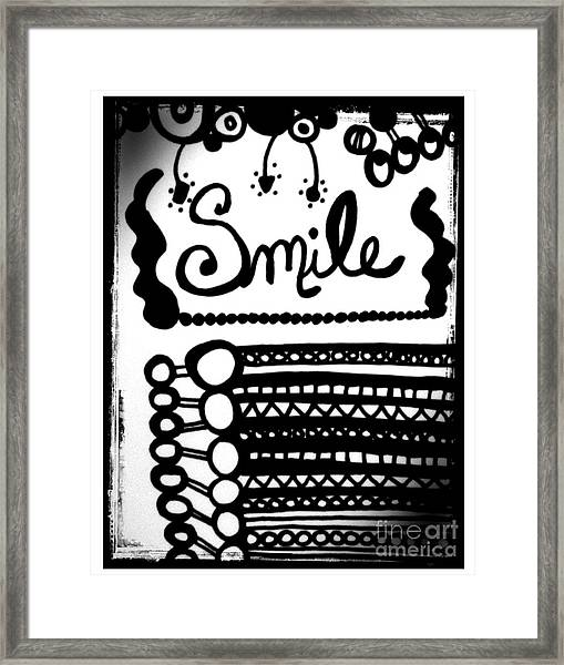 Framed Print featuring the drawing Smile by Rachel Maynard