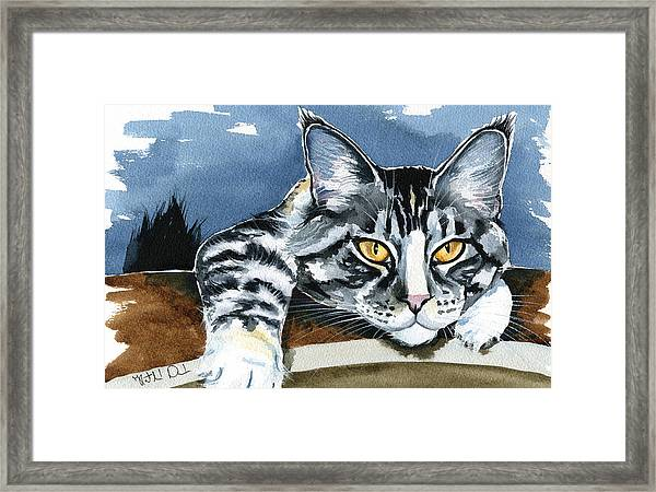 Smilla - Maine Coon Cat Painting Framed Print