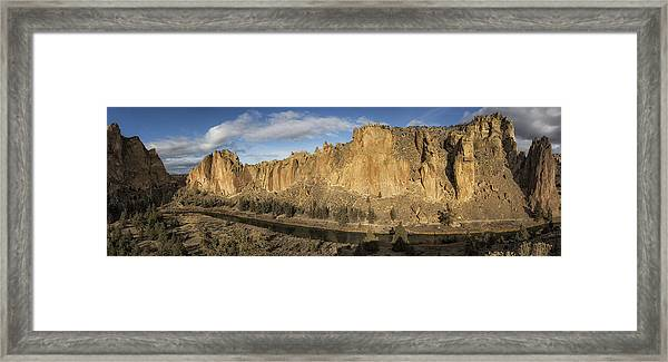 Smith Rock And Crooked River Panorama Framed Print