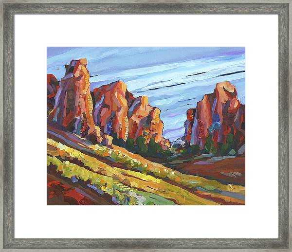 Framed Print featuring the painting Smith Rock I by Shelli Walters