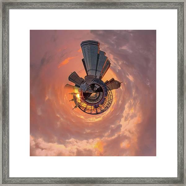 Smithfield St Bridge Little Planet  Framed Print
