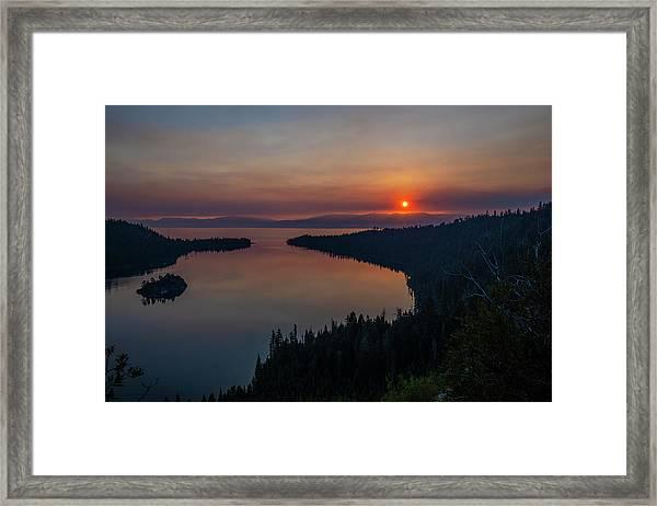 Smoke-diffused Sun At Emerald Bay Framed Print