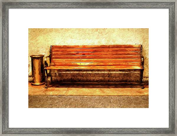 Smoker's Bench Framed Print