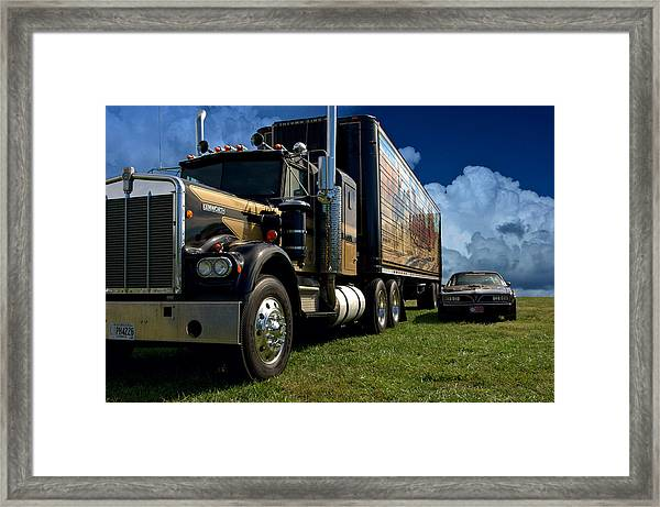 Smokey And The Bandit Tribute 1973 Kenworth W900 Black And Gold Semi Truck And The Bandit Transam Framed Print