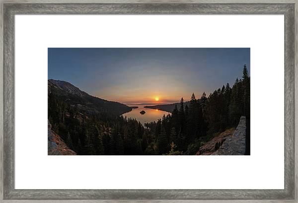 Smokey Sunrise At Emerald Bay Framed Print