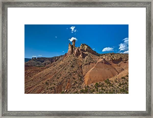 Smoking Chimney Rock Framed Print
