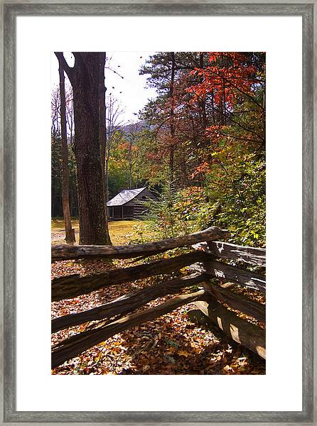 Smoky Mountain Log Cabin Framed Print