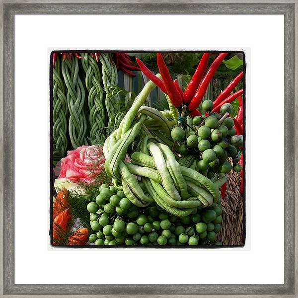 Framed Print featuring the photograph Snake Beans. At The Surin Elephant by Mr Photojimsf
