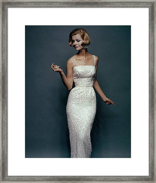 Snapping In Sequins Framed Print by Bert Stern