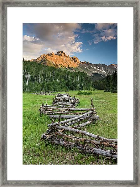 Sneffels Fence Vertical Framed Print